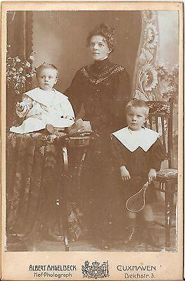 CAB photo Feine Dame mit kleinen Kindern - Cuxhaven 1900er