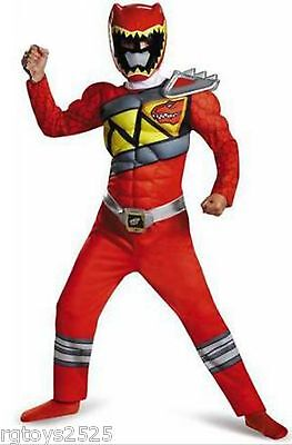 Power Rangers Size 10-12 Large Dino Charge Red Ranger Muscle Child Costume New - Red Dino Power Ranger Kostüm
