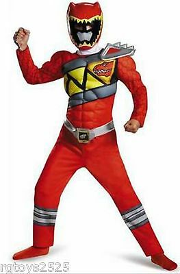 Power Rangers Size 10-12 Large Dino Charge Red Ranger Muscle Child Costume New - Dino Charge Red Ranger Kostüm
