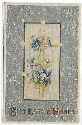 ANTIQUE Post Card Best Easter Wishes Silver Cross Blue Flowers (Best Birth Announcement Cards)