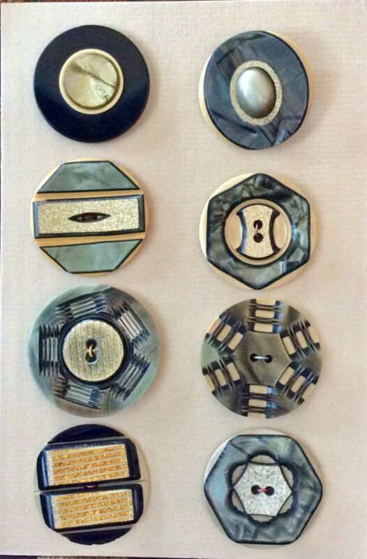 8 Laminated Celluloid Coat Buttons, Carved, Glitter