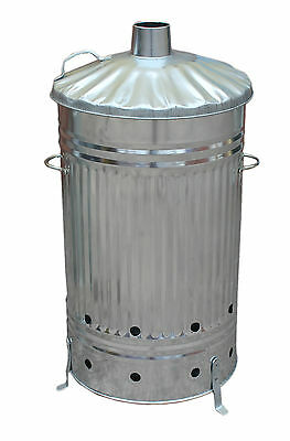 2 X 125 LITRE GALVANISED INCINERATOR BURNING FIRE BIN GARDEN RUBBISH DOCUMENTS