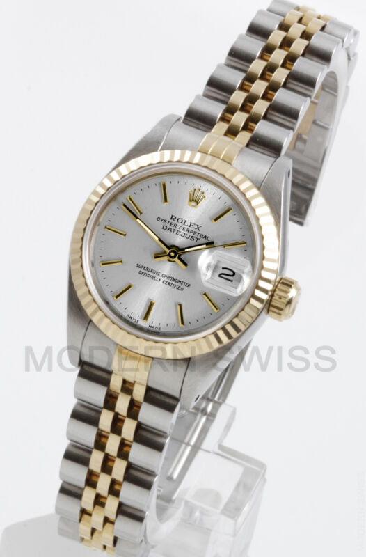 Rolex Ladies Datejust Gold & Steel Silver Index Fluted Jubilee 2 Tone Perpetual