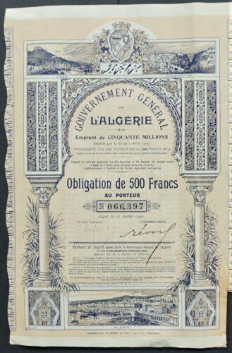 Algeria - Government of Algeria - 1902 - 3% bond for 500 francs -RARE and DECO-