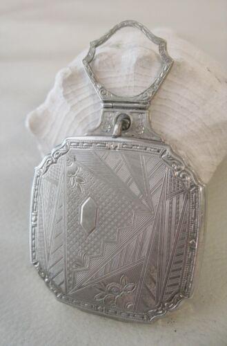 Antique Art Deco Silver Geometric Bale Handle Finger Ring Dance Compact EVANS
