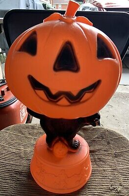 "Halloween BLOW MOLD 13 "" Black cat pumpkin with dancing skeletons base vintage"