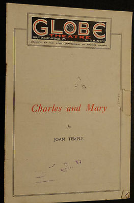 1920's GLOBE THEATRE PROGRAMME CHARLES and MARRY - By JOAN TEMPLE