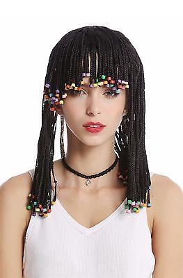 Perücke Damen Herren geflochtene Zöpfe Perlen schwarz Afro - Schwarz Geflochtene Perücke