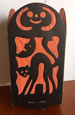 Halloween 4-panel (Vintage 1930-40s Halloween Lantern 4 Panel Pulp Cardboard w/ Crape Paper)