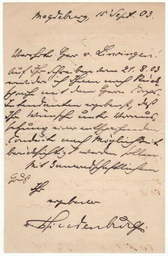 Hindenburg, Paul von (1847-1934) - Autograph letter signed