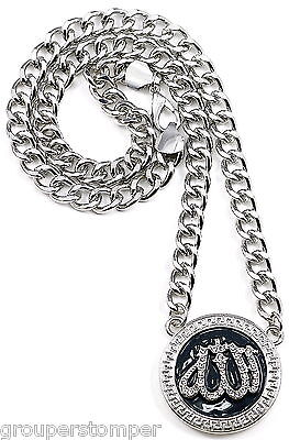Allah Iced Out Two Toned Pendant Necklace 25 Inch Cuban Link Chain Religous
