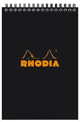Rhodia Wirebound Notebook 6 X 8 Lined Paper Black