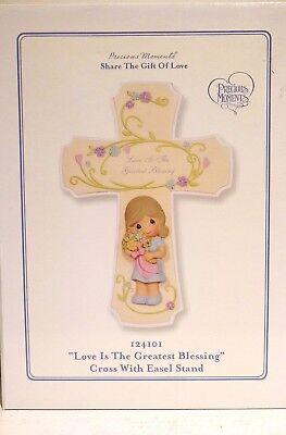 """Precious Moments """"Love Is The Greatest Blessing""""  Porcelain Cross W/ Easel Stand"""