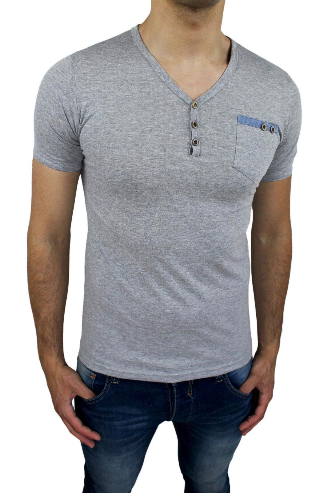 T Bottoni Grigio Maglia Slim Tg Fit Uomo Chiaro Casual Shirt Con F1JTKlc