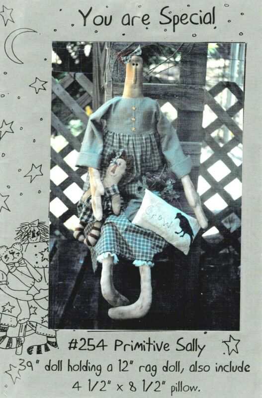 PRIMITIVE SALLY DOLL PATTERN INC. RAG DOLL & PILLOW-YOU ARE SPECIAL
