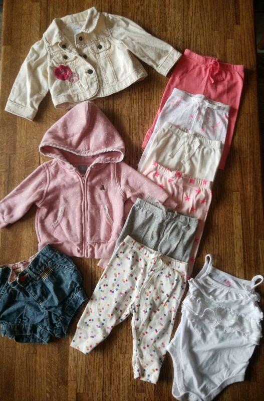 10 Pc Baby Girl Clothes Lot Gap Jean Jacket Pants Zip Sweatshirt - 3-6 Months