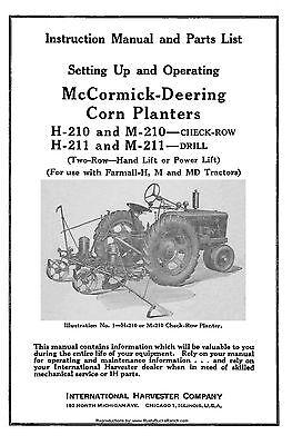 Mccormick Deering H210 M210 H211 And M211 Corn Planters 1-007-063-r2 011948