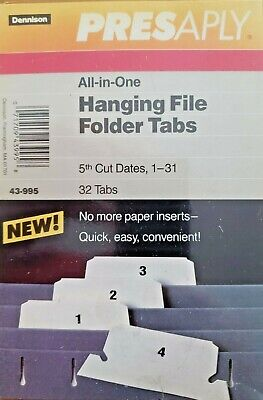 Dennison Presaply All-in-one Hanging File Folder Tabs 5th Cut Dates 1-31 43-995