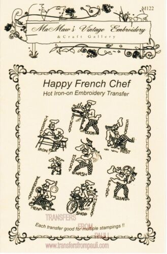 M122 French Chef Tea Towel DOW Embroidery HOT IRON Transfer pattern