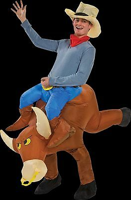 Western Rodeo Riding COWBOY BULL RIDER INFLATABLE COSTUME w-HAT Funny Gag-Adult - Bull Riding Halloween Costume