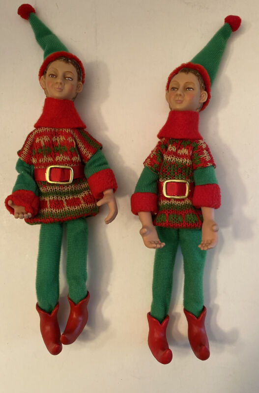 2 Vintage 11 in Tall Elves Pixies Red Green Felt Hard Plastic Faces