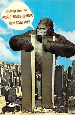 NY, New York City - WORLD TRADE CENTER & King Kong Vintage 6x9 postcard