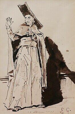 Eugène GIRAUD Französische Zeichnung Kostüm Schauspieler Komiker Theater - Romantik Theater Kostüme