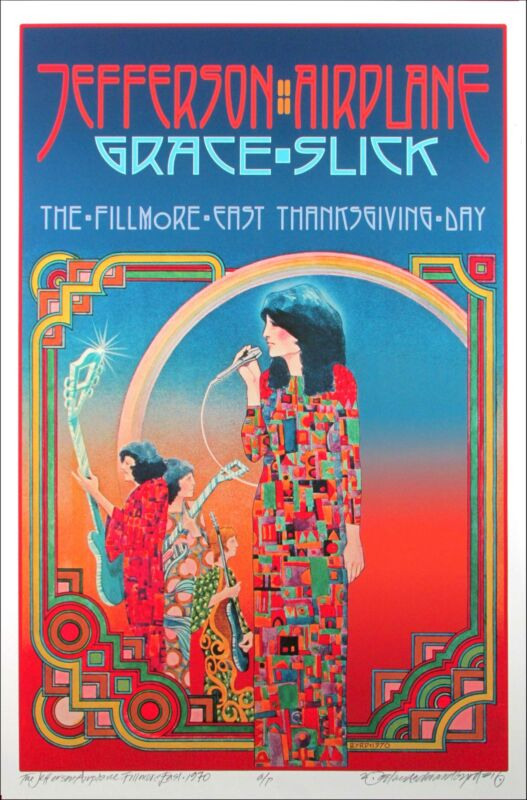 Jefferson Airplane Poster Fillmore East 1970 New A/P Hand-Signed by David Byrd
