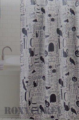 Halloween Script Text Boo Black Cat EEK Pumpkin Fabric Shower Curtain 70x70