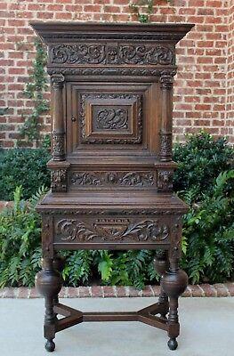 Antique French Oak Renaissance Wine Bar Liquor Cabinet Bookcase Lions Birds, used for sale  Tyler
