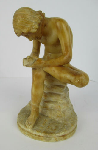 Grand Tour Alabaster Carving Of Spinario, Boy With Thorn