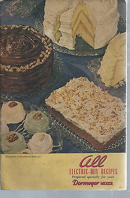 NB-017 - Dormeyer Mixer All Electric Mix Recipes Cookbook, 1946 Vintage