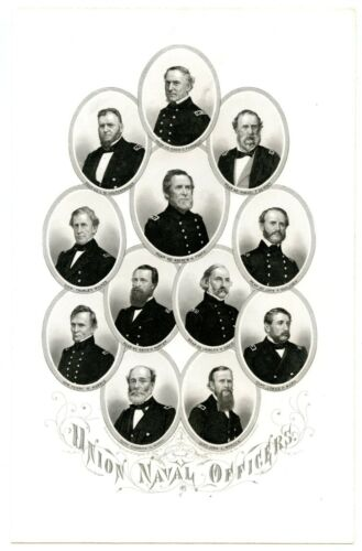 UNION NAVAL OFFICERS, A Foote/James H Ward KIA/ Civil War Steel Engraving 8025