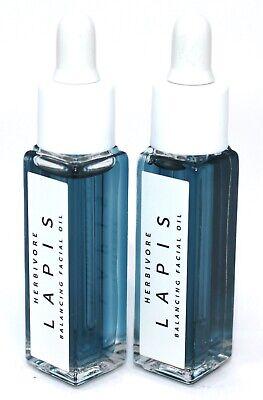 x2 Herbivore LAPIS Balancing Facial Oil Glass Bottle with Dropper | Mini .3oz