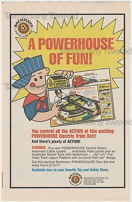 Bachman Railroad - Powerhouse Train Set Vintage Print Ad Advertisement 1984 80s