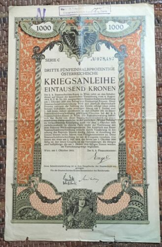 stock share bond Wien 1915. year Austria