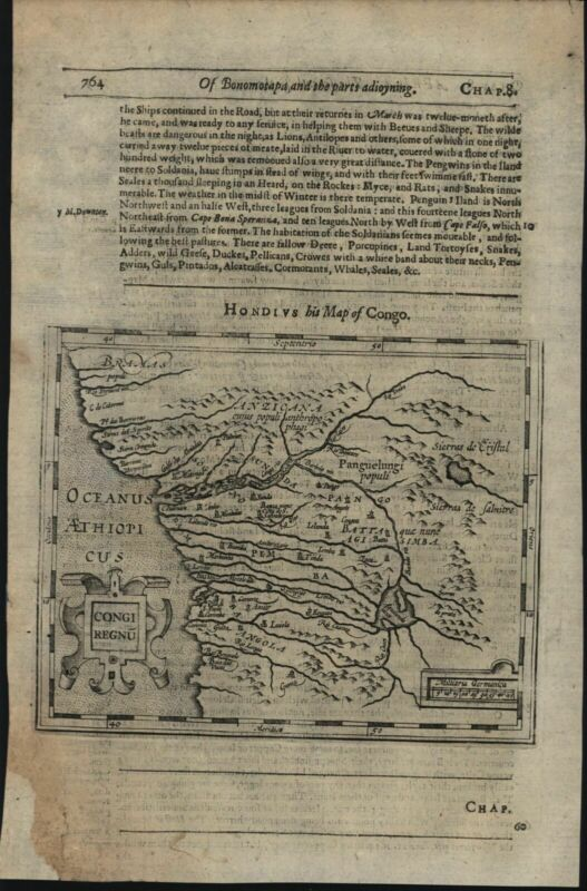 Africa Congo interior lakes 1626 Purchas Hondius scarce miniature map