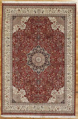 Classic Collection Teppich (6 x 9 Super Fine Classic Collection Tabriz Silk Scarlet Red Handmade Rug)