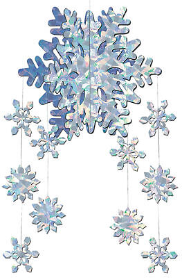 3D Hanging Snowflake Mobile 22 Inches Long Winter Holiday Christmas Decoration