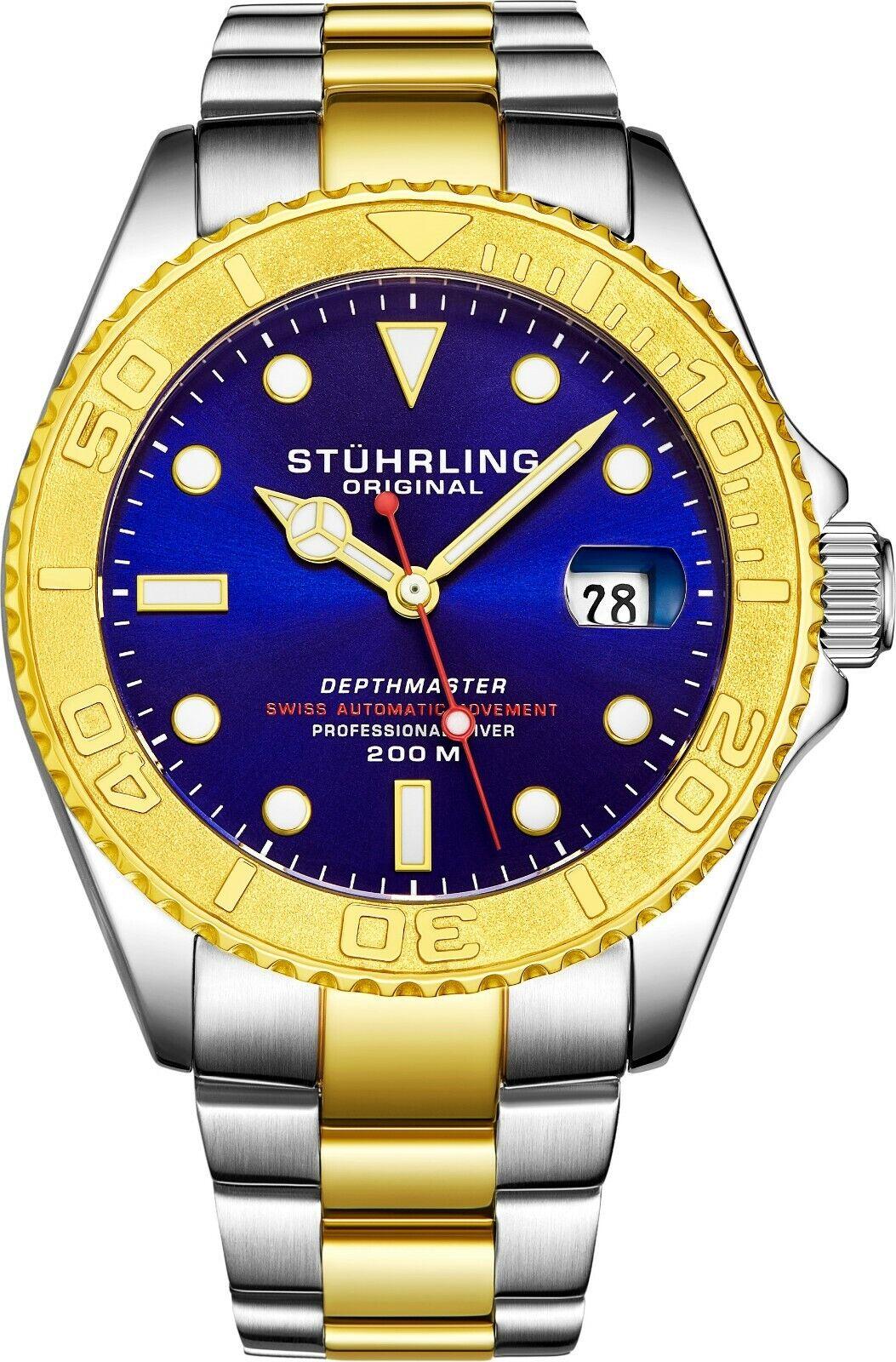 Stuhrling Depthmaster Men's 18 Jewel Swiss Automatic 200 Meter Dive Watch 893.04