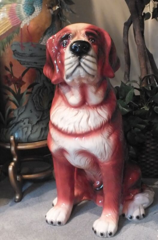 "VTG 30"" Hand Painted Ceramic ST SAINT BERNARD Sitting Dog Figurine / Sculpture"