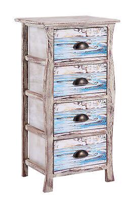 ts-ideen Kommode Schrank Shabby Used Optik Nachttisch 4 Schubladen Metallgriffe (Kommode 4 Griffe)