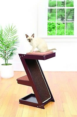 Wooden Cat Scratcher & Perch – Climber Sisal Scratching Post w/ Brown Cushion