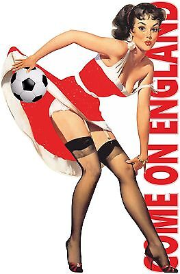 COME ON ENGLAND FOOTBALL T SHIRT MENS SEXY PIN UP GIRL STOCKING SOCCER EURO TOPS