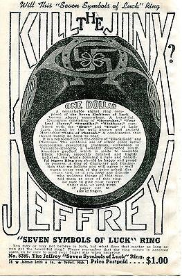 1940 small Print Ad of Jeffrey Good Luck Ring Horseshoe & Swastika Kill The Jinx