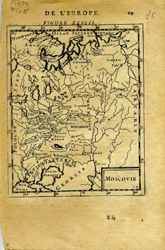 """1683 Genuine Antique map """"Moscovie"""", Russia in Europe, Moscow. A.M. Mallet"""