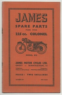 JAMES MOTOR CYCLES - ORIGINAL 1954 SPARE PARTS LIST FOR
