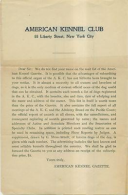1900's American Kennel Club/American Kennel Gazette Solicitation Letter