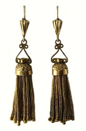 Antique Victorian Gold Tassle Earrings 14-12K