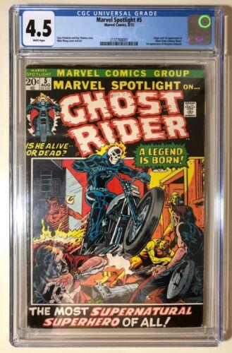 Marvel Spotlight #5 CGC 4.5 White Pages. Origin & 1st App Ghost Rider. Champions